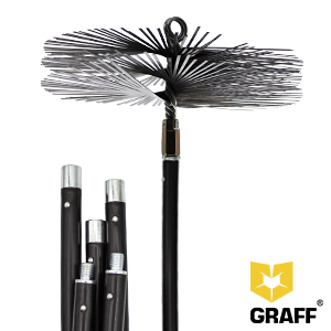 Nylon brush for cleaning chimneys in a set with 5 flexible rods GRAFF