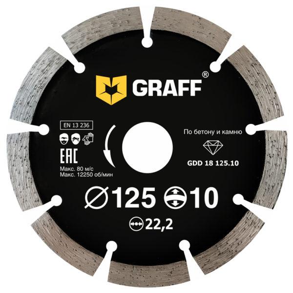 Segmented high-rim diamond blade for concrete and stone 125x10