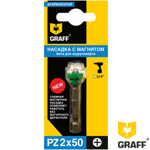 GRAFF screwdriver bit PZ2x50 mm with a magnet holder in a blister pack