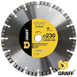Expert diamond cutting blade for reinforced concrete and stone 230 mm